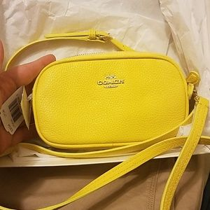 New Coach yellow crossbody pouch purse